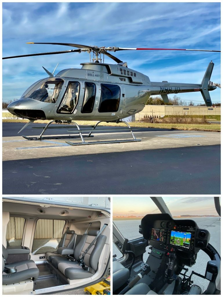 Grid of photos of Bell 407GXi Helicopter parked on a landing pad and interior of the helicopter.